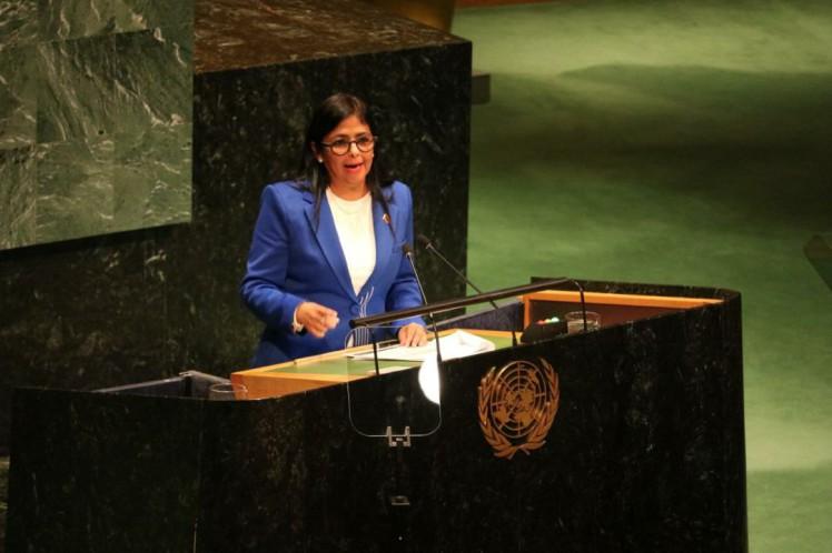 Vicepresidenta de Venezuela denuncia en ONU amenazas a lapaz