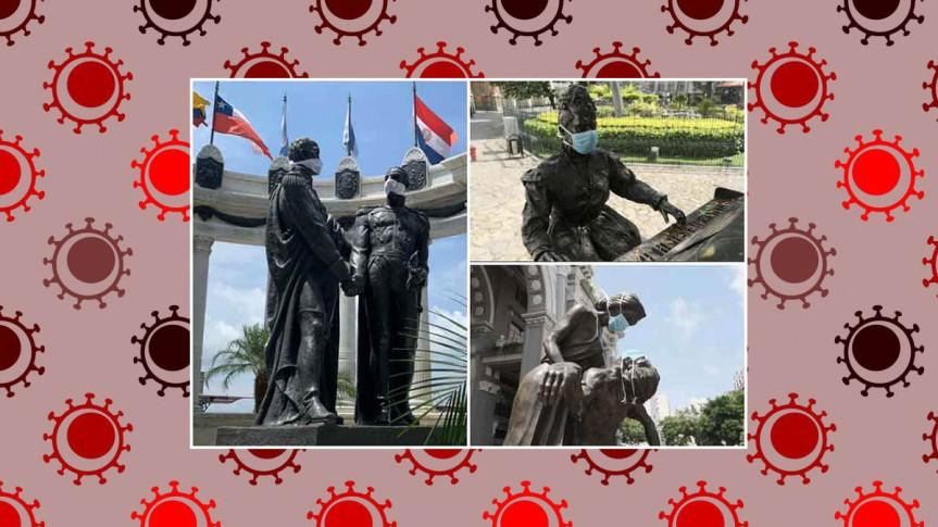 Estatuas de Guayaquil, Ecuador, instan a usar nasobucos anteCovid-19