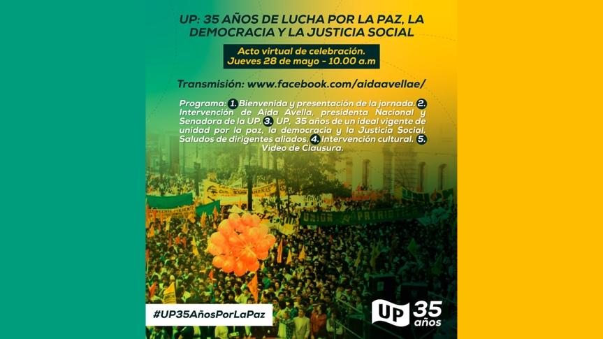 Partido UP celebra el 28 de mayo 35 años deexistencia