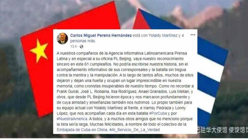 Embajada de Cuba en China resalta rol de Prensa Latina contra lamentira