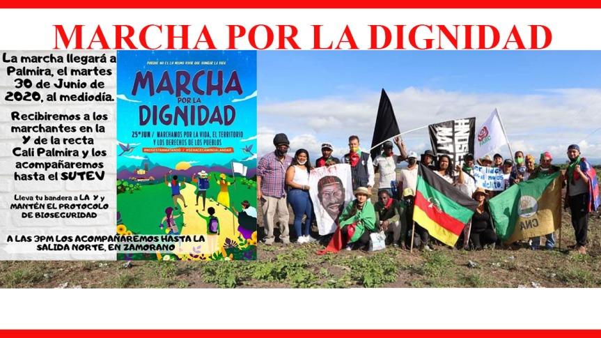 Marcha por la dignidad y el repudio al exterminio de lideres sociales y excombatientes deFarc